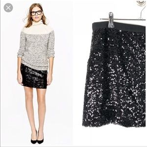 *NWT* J.Crew Factory Black Sequin Mini Skirt sz 4